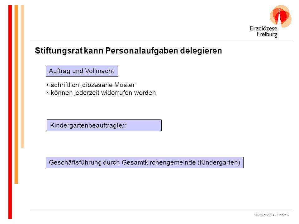 26. Mai 2014 / Seite: 6 Stiftungsrat kann Personalaufgaben delegieren Kindergartenbeauftragte/r schriftlich, diözesane Muster können jederzeit widerru