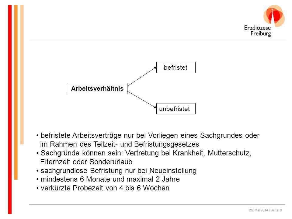 26. Mai 2014 / Seite: 9 Arbeitsverhältnis unbefristet befristet befristete Arbeitsverträge nur bei Vorliegen eines Sachgrundes oder im Rahmen des Teil