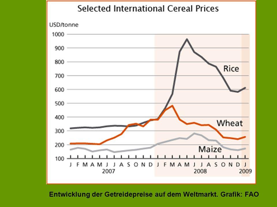 Entwicklung der Getreidepreise auf dem Weltmarkt. Grafik: FAO