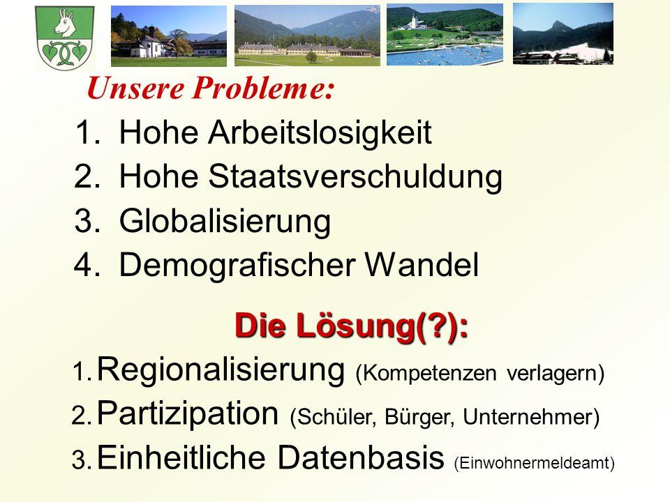 Unsere Probleme: 1.Hohe Arbeitslosigkeit 2.Hohe Staatsverschuldung 3.Globalisierung 4.Demografischer Wandel Die Lösung(?): 1.