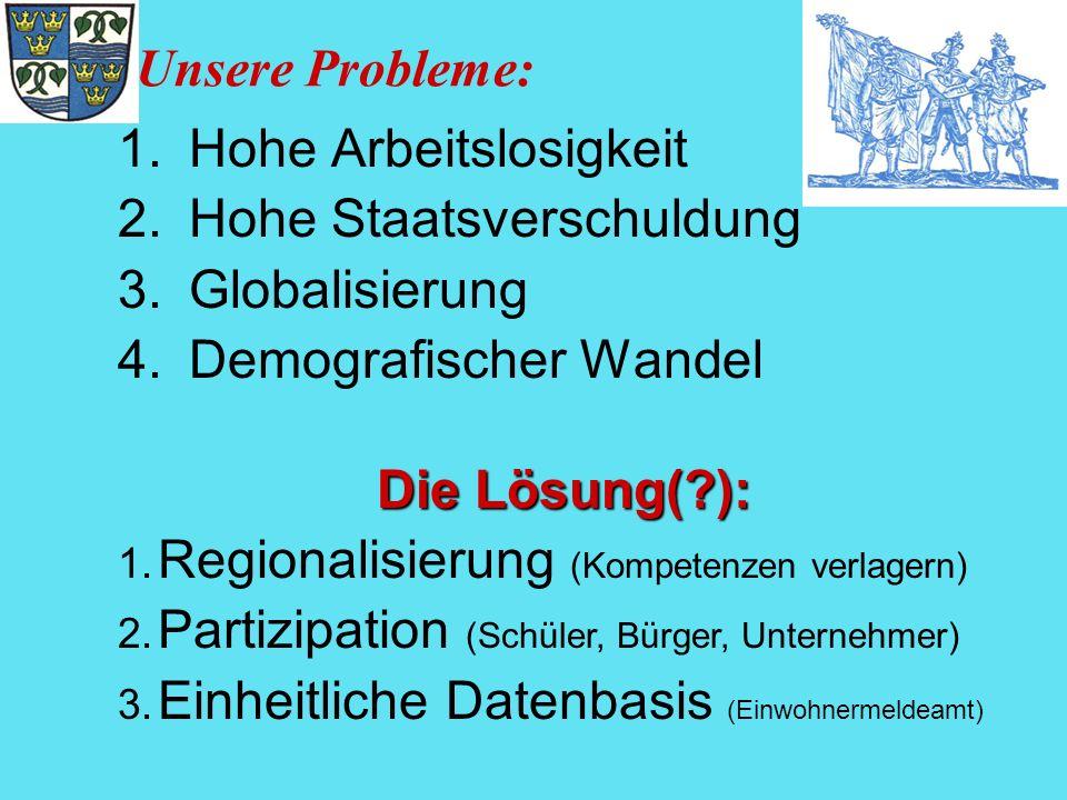 Unsere Probleme: 1.Hohe Arbeitslosigkeit 2.Hohe Staatsverschuldung 3.Globalisierung 4.Demografischer Wandel Die Lösung(?): 1. Regionalisierung (Kompet