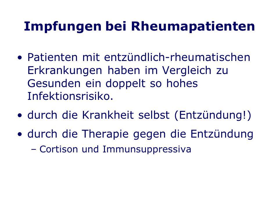 Impfungen bei Rheumapatienten Patienten mit entzündlich-rheumatischen Erkrankungen haben im Vergleich zu Gesunden ein doppelt so hohes Infektionsrisiko.