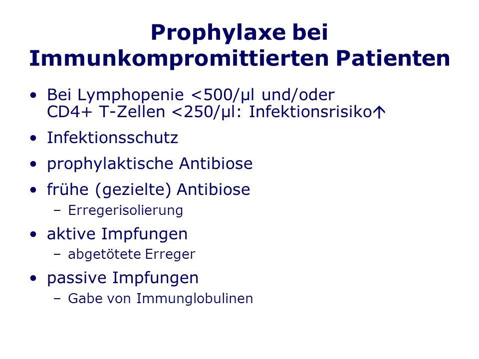 Prophylaxe bei Immunkompromittierten Patienten Bei Lymphopenie <500/μl und/oder CD4+ T-Zellen <250/μl: Infektionsrisiko Infektionsschutz prophylaktische Antibiose frühe (gezielte) Antibiose –Erregerisolierung aktive Impfungen –abgetötete Erreger passive Impfungen –Gabe von Immunglobulinen