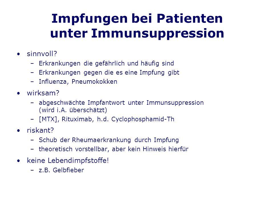 Impfungen bei Patienten unter Immunsuppression sinnvoll? –Erkrankungen die gefährlich und häufig sind –Erkrankungen gegen die es eine Impfung gibt –In