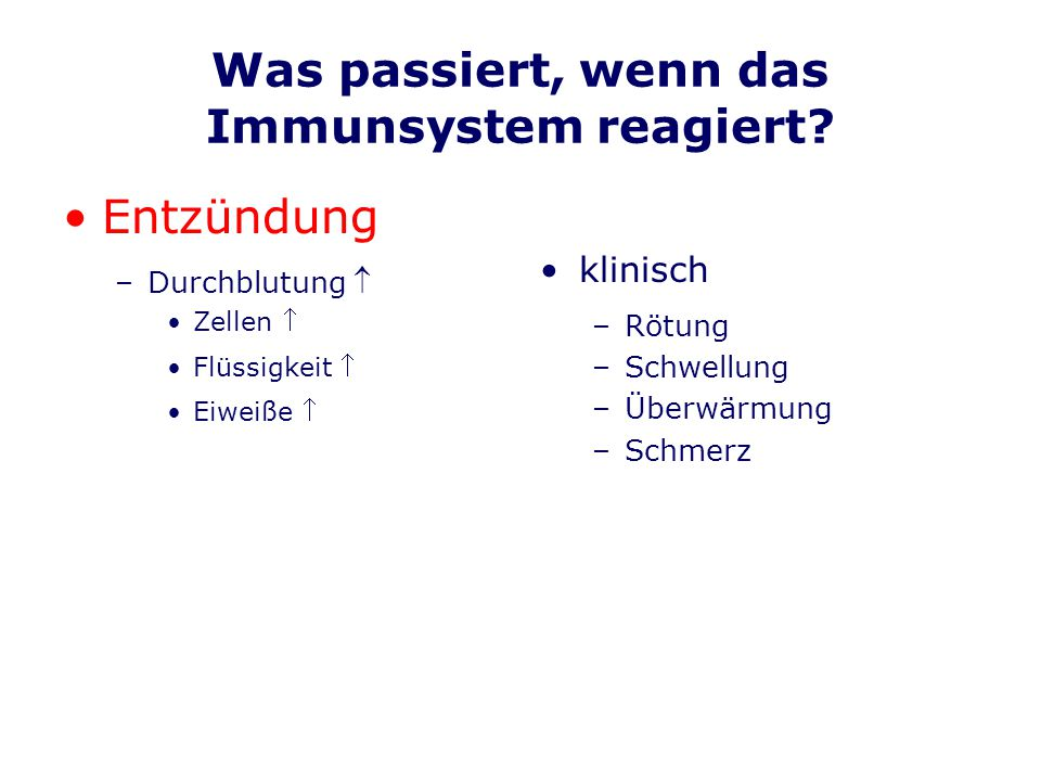 Immunologische Krankheiten Zuviel an Immunantwort –Allergien –viele Hauterkrankungen –Rheuma (entzdl.) –Diabetes m.