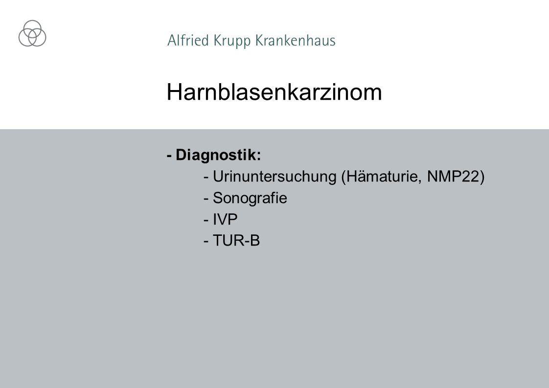 - Diagnostik: - Urinuntersuchung (Hämaturie, NMP22) - Sonografie - IVP - TUR-B Harnblasenkarzinom