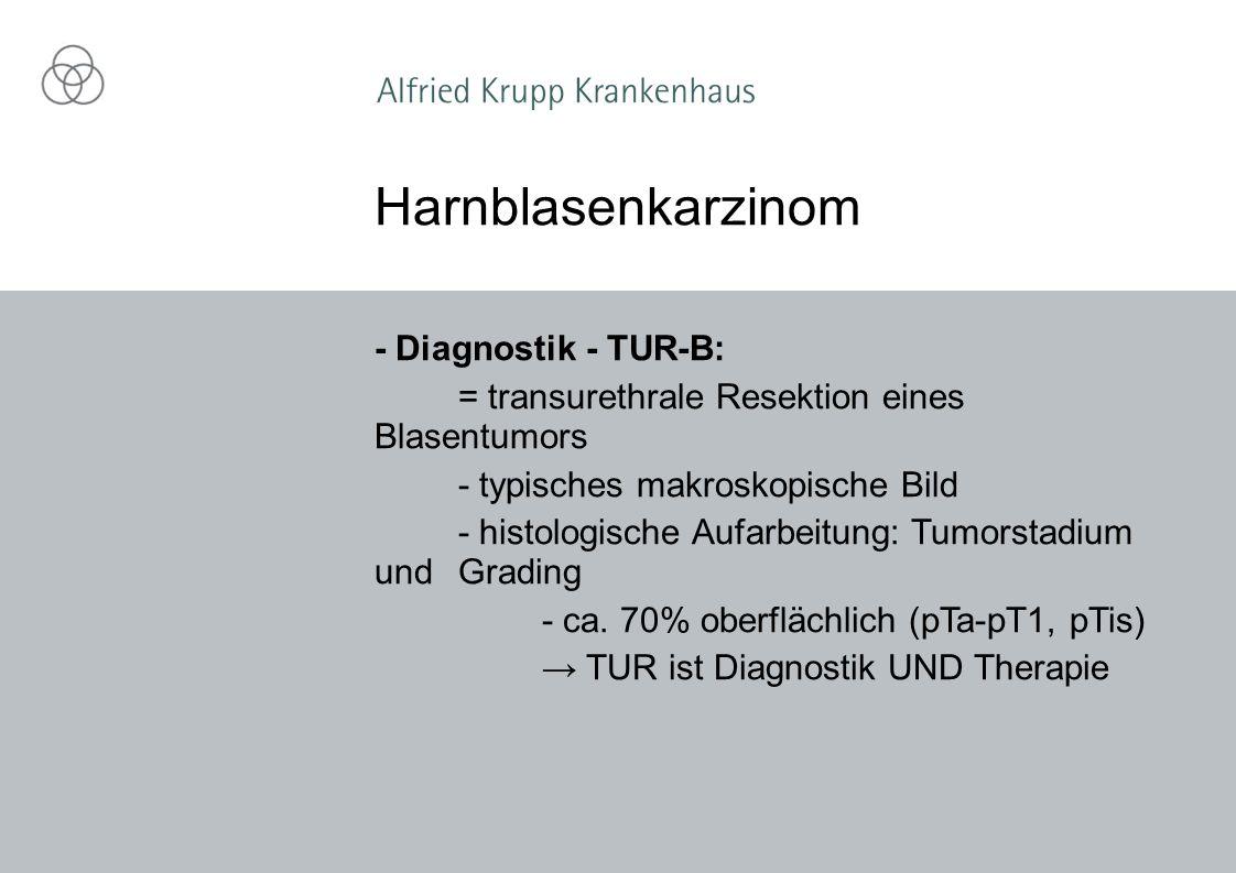 - Diagnostik - TUR-B: = transurethrale Resektion eines Blasentumors - typisches makroskopische Bild - histologische Aufarbeitung: Tumorstadium und Grading - ca.