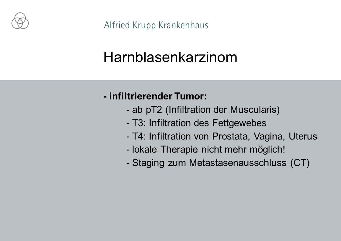 - infiltrierender Tumor: - ab pT2 (Infiltration der Muscularis) - T3: Infiltration des Fettgewebes - T4: Infiltration von Prostata, Vagina, Uterus - lokale Therapie nicht mehr möglich.