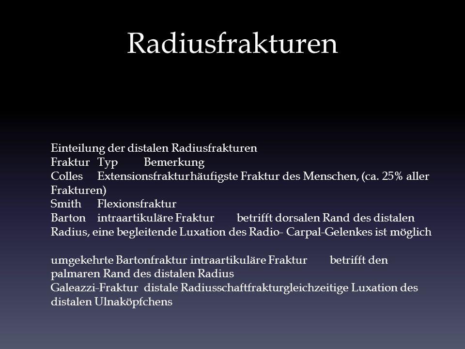 Radiusfrakturen Einteilung der distalen Radiusfrakturen FrakturTypBemerkung CollesExtensionsfrakturhäufigste Fraktur des Menschen, (ca. 25% aller Frak