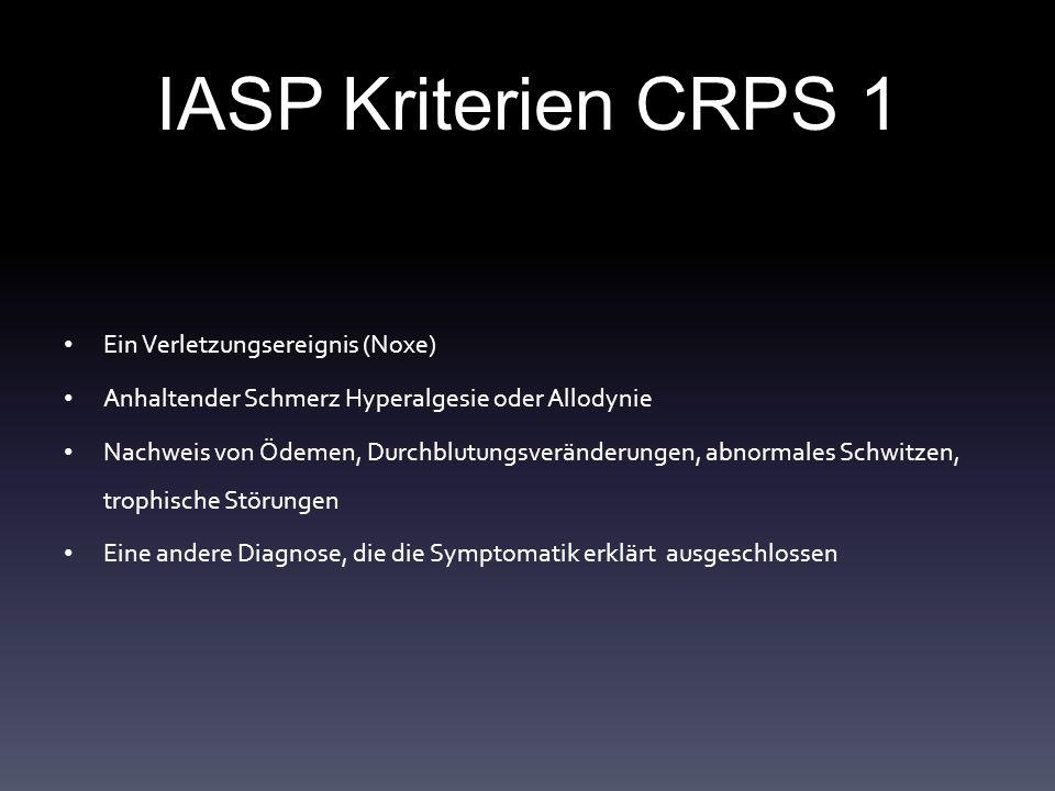 IASP Kriterien CRPS 1 Ein Verletzungsereignis (Noxe) Anhaltender Schmerz Hyperalgesie oder Allodynie Nachweis von Ödemen, Durchblutungsveränderungen, abnormales Schwitzen, trophische Störungen Eine andere Diagnose, die die Symptomatik erklärt ausgeschlossen