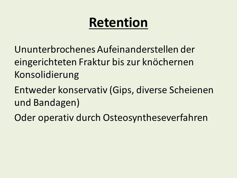 Retention Ununterbrochenes Aufeinanderstellen der eingerichteten Fraktur bis zur knöchernen Konsolidierung Entweder konservativ (Gips, diverse Scheien