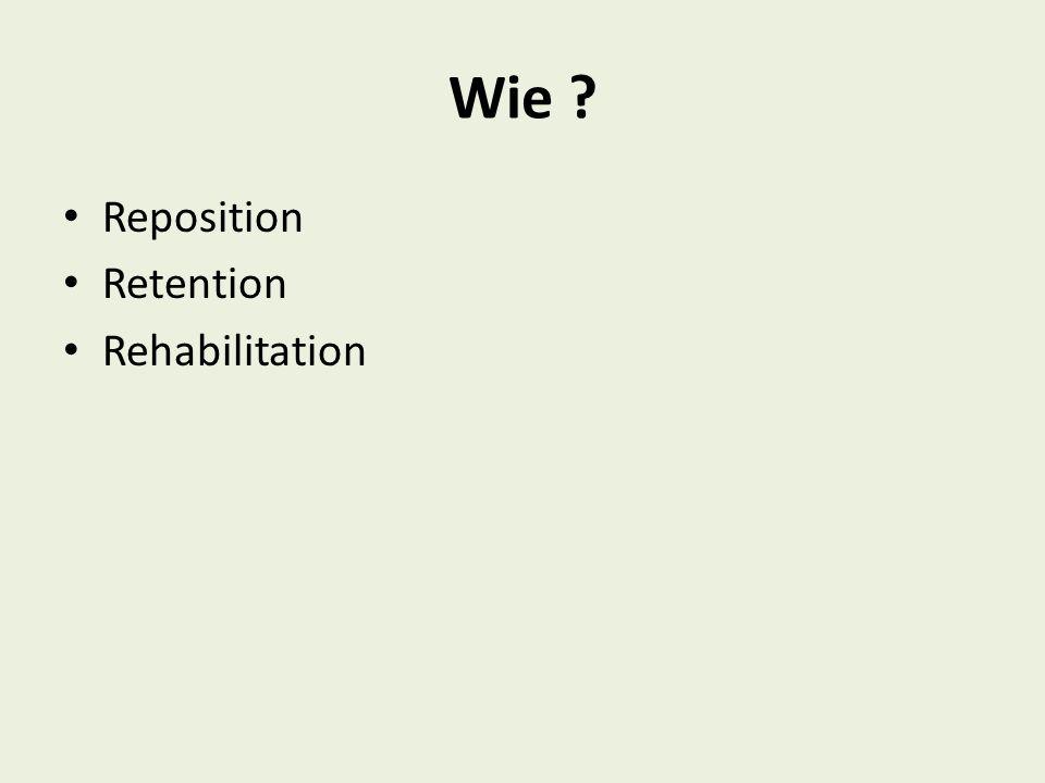 Reposition Manuell durch Zug und Gegenzug möglichst rasch nach dem Unfall Repositionshindernisse können sein: -Interponierte Weichteile wie Periost, Sehnen, Muskeln