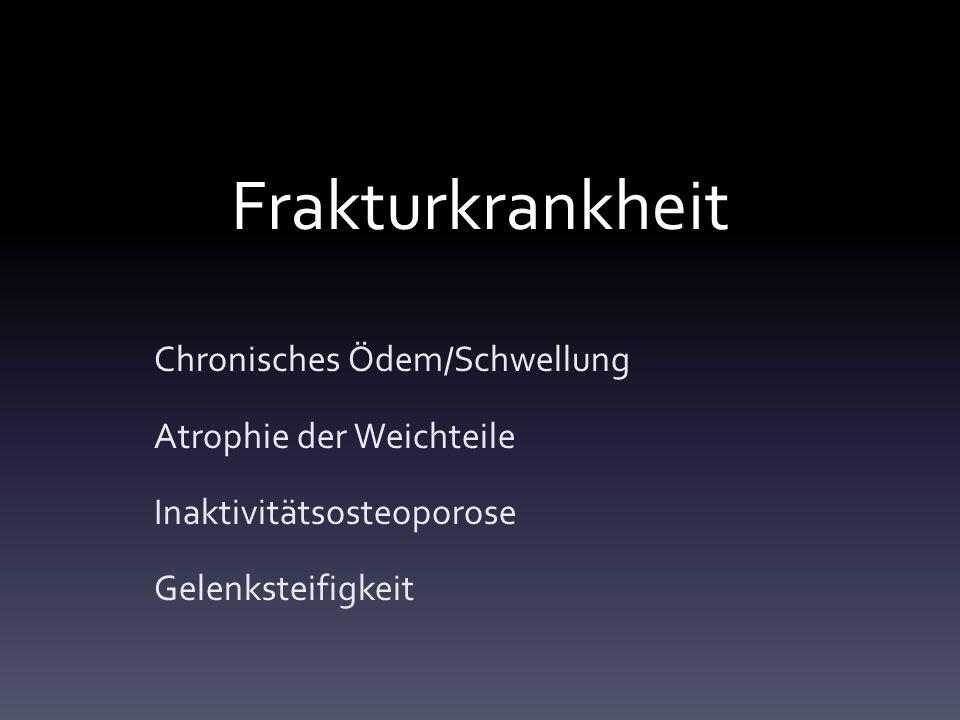 Frakturkrankheit Chronisches Ödem/Schwellung Atrophie der Weichteile Inaktivitätsosteoporose Gelenksteifigkeit