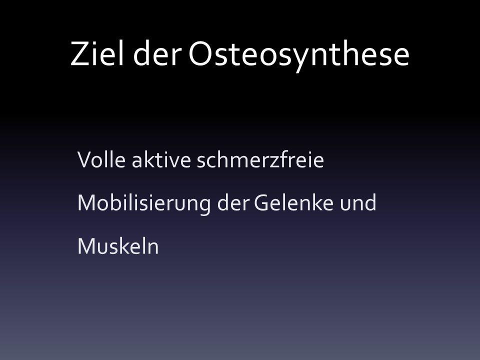 Ziel der Osteosynthese Volle aktive schmerzfreie Mobilisierung der Gelenke und Muskeln
