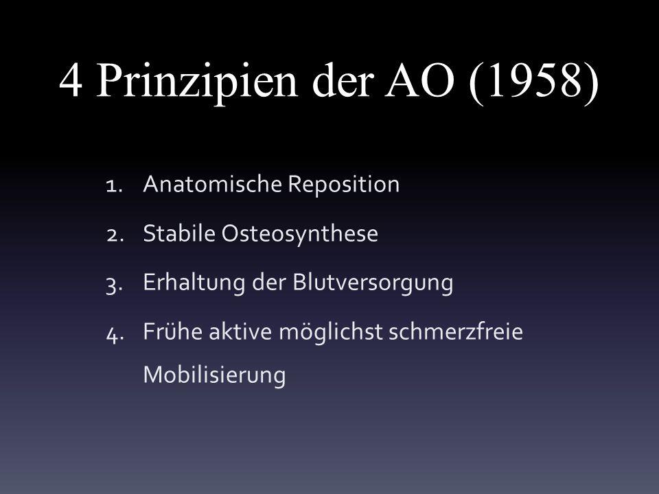 4 Prinzipien der AO (1958) 1.Anatomische Reposition 2.Stabile Osteosynthese 3.Erhaltung der Blutversorgung 4.Frühe aktive möglichst schmerzfreie Mobilisierung