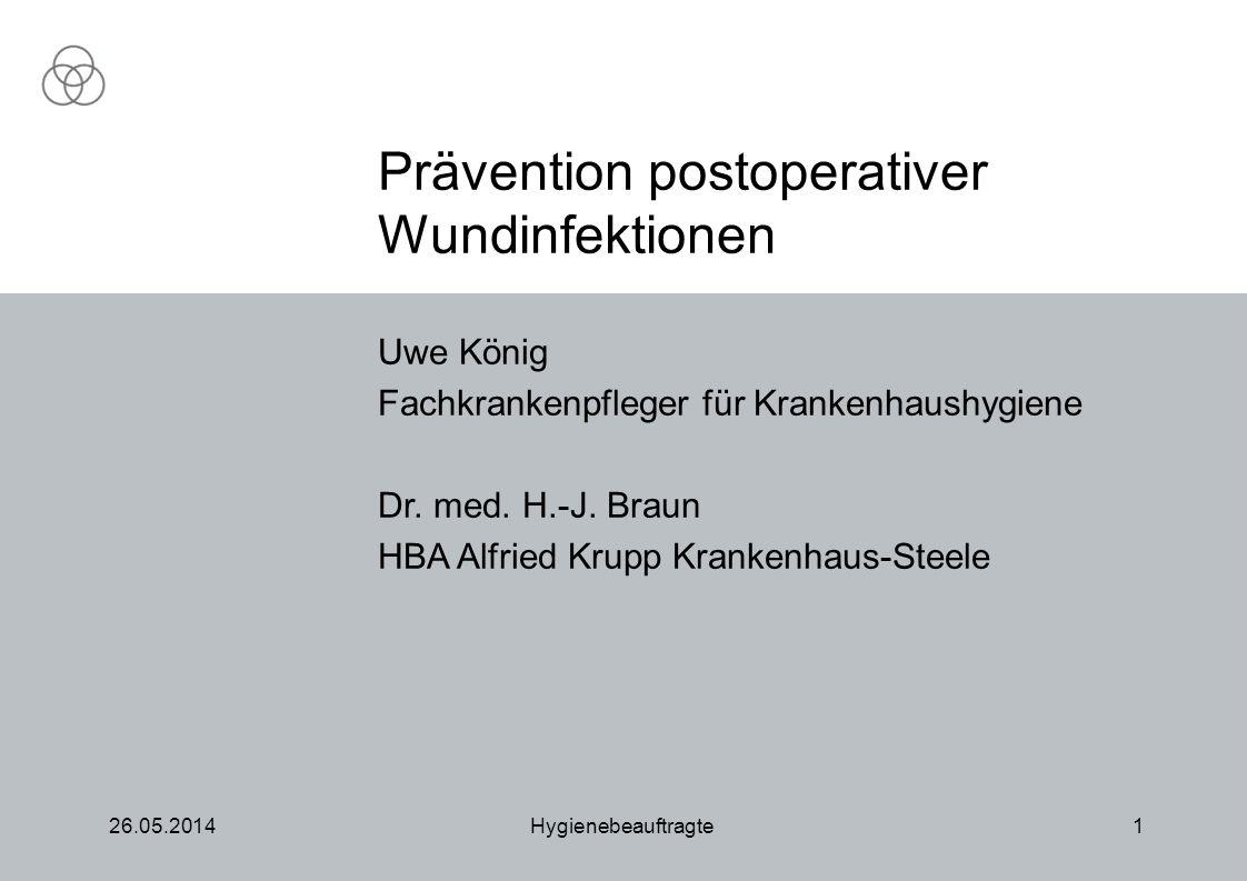 26.05.2014Hygienebeauftragte1 Uwe König Fachkrankenpfleger für Krankenhaushygiene Dr. med. H.-J. Braun HBA Alfried Krupp Krankenhaus-Steele Prävention
