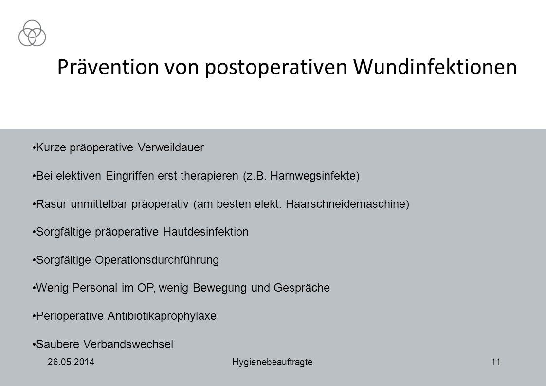 Prävention von postoperativen Wundinfektionen 26.05.2014Hygienebeauftragte11 Kurze präoperative Verweildauer Bei elektiven Eingriffen erst therapieren (z.B.