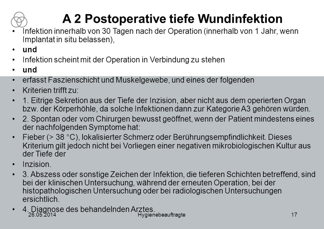 26.05.2014Hygienebeauftragte17 A 2 Postoperative tiefe Wundinfektion Infektion innerhalb von 30 Tagen nach der Operation (innerhalb von 1 Jahr, wenn I