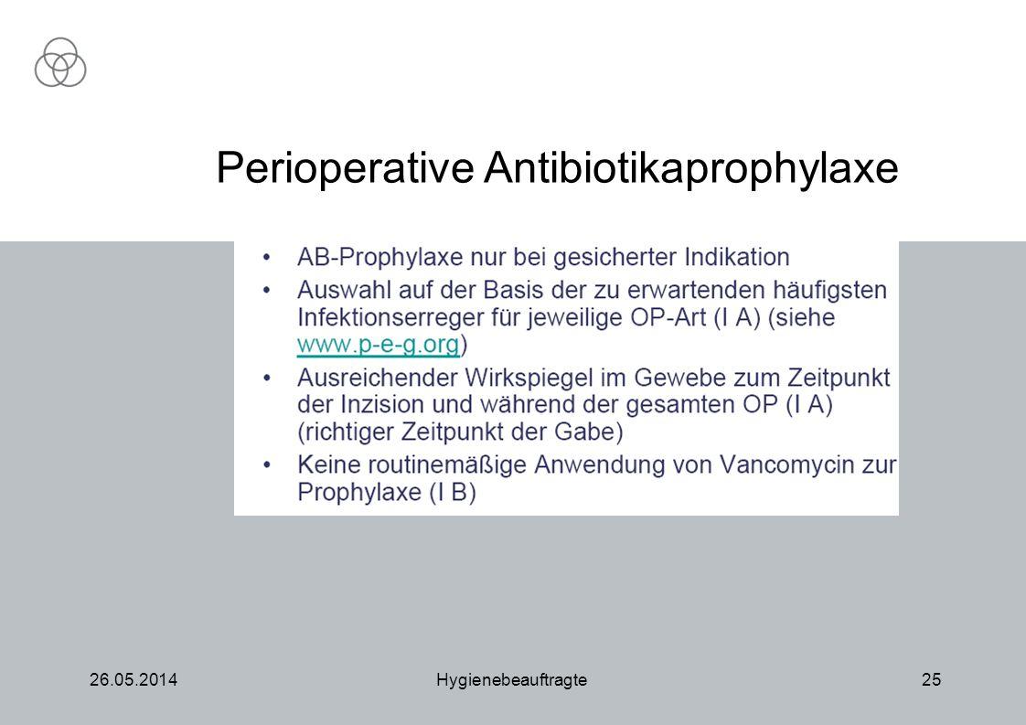 26.05.2014Hygienebeauftragte25 nur bei gesicherter Indikation (PEG) Perioperative Antibiotikaprophylaxe