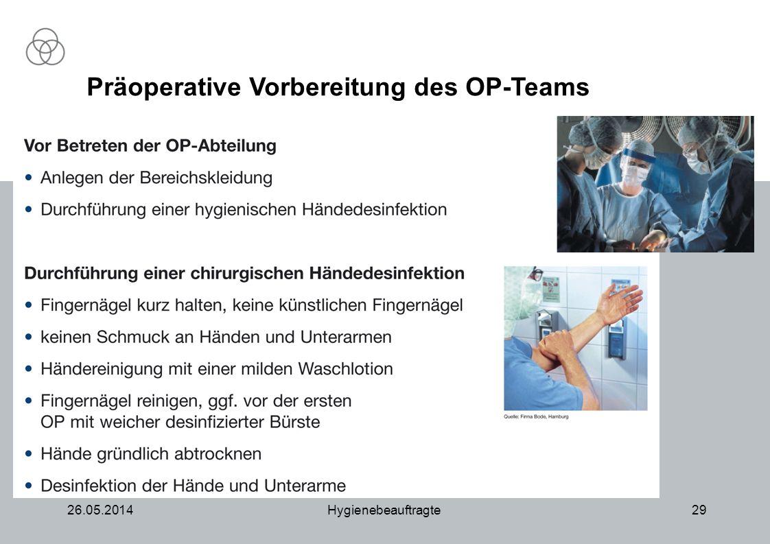 26.05.2014Hygienebeauftragte29 Präoperative Vorbereitung des OP-Teams