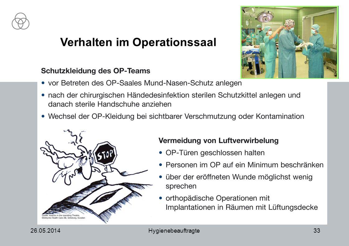 26.05.2014Hygienebeauftragte33 Verhalten im Operationssaal