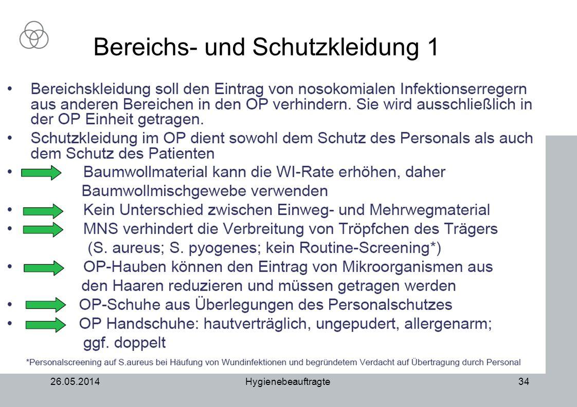 26.05.2014Hygienebeauftragte34 Bereichs- und Schutzkleidung 1
