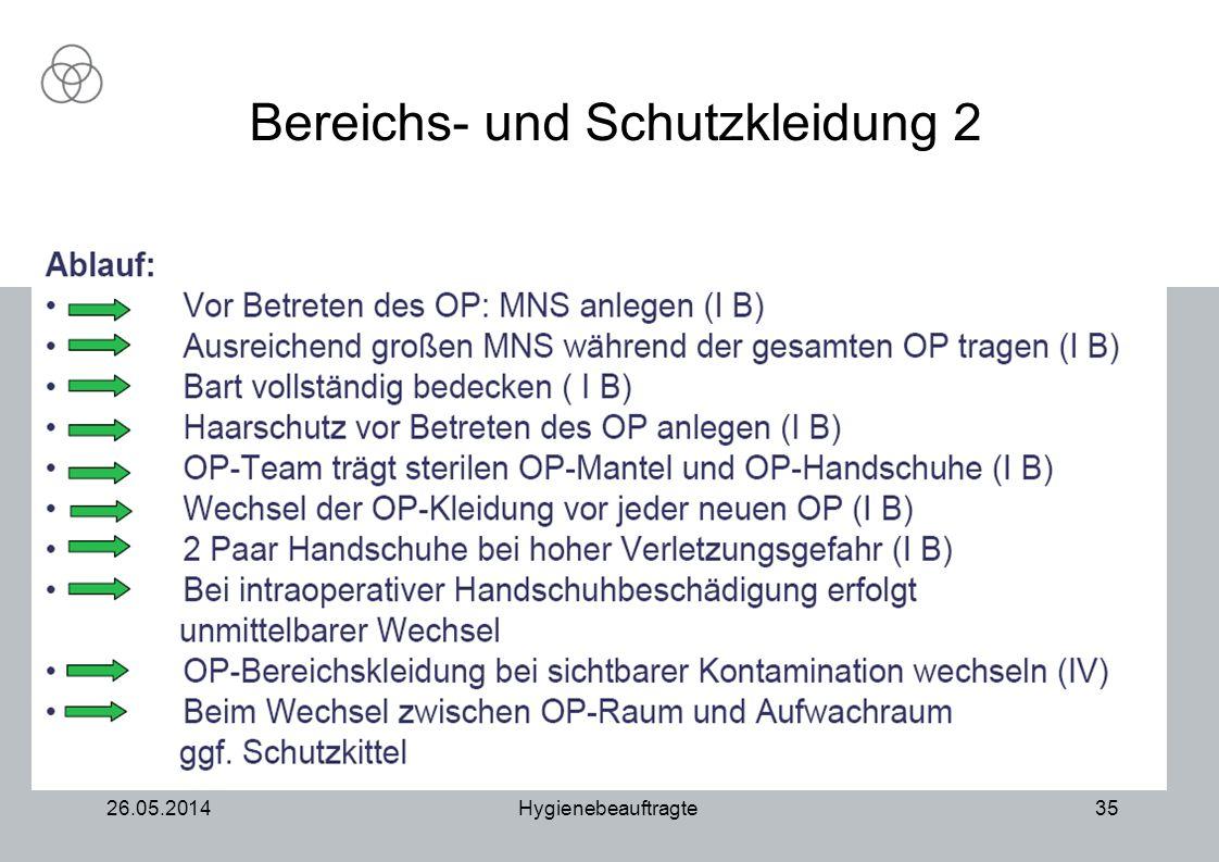 26.05.2014Hygienebeauftragte35 Bereichs- und Schutzkleidung 2