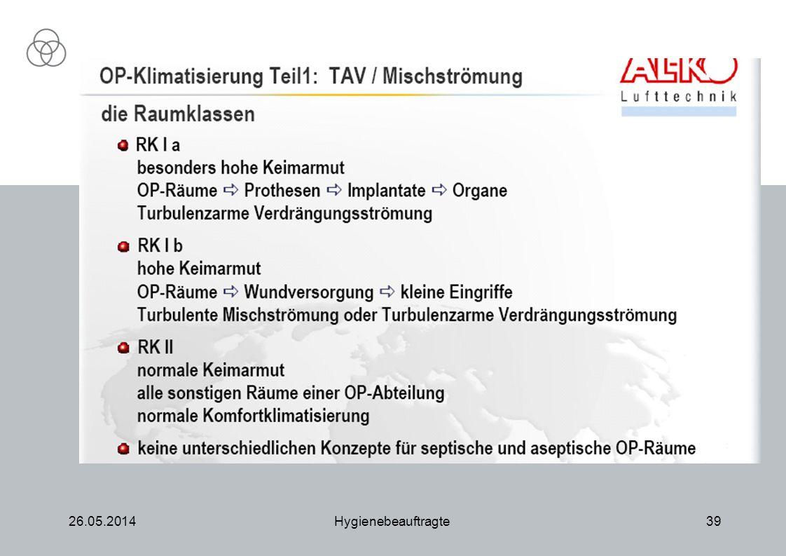 26.05.2014Hygienebeauftragte39 RLT-Anlage