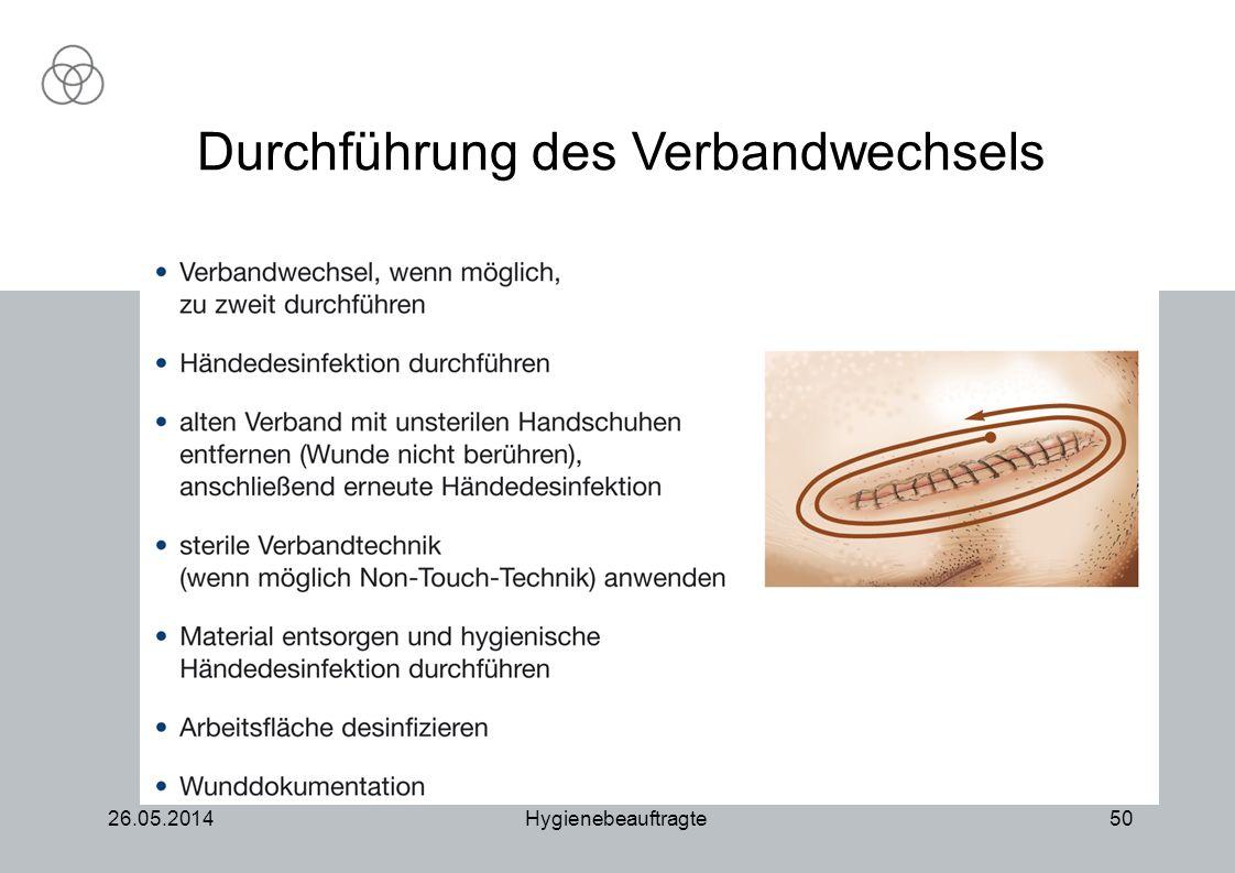 26.05.2014Hygienebeauftragte50 Durchführung des Verbandwechsels