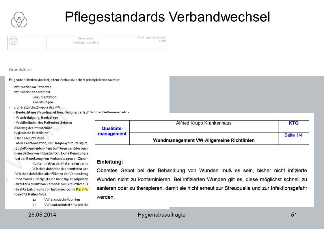 26.05.2014Hygienebeauftragte51 Pflegestandards Verbandwechsel