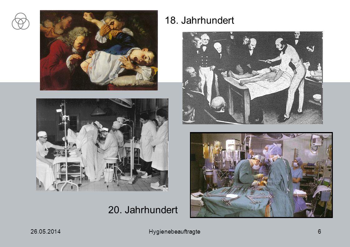 26.05.2014Hygienebeauftragte6 18. Jahrhundert 20. Jahrhundert