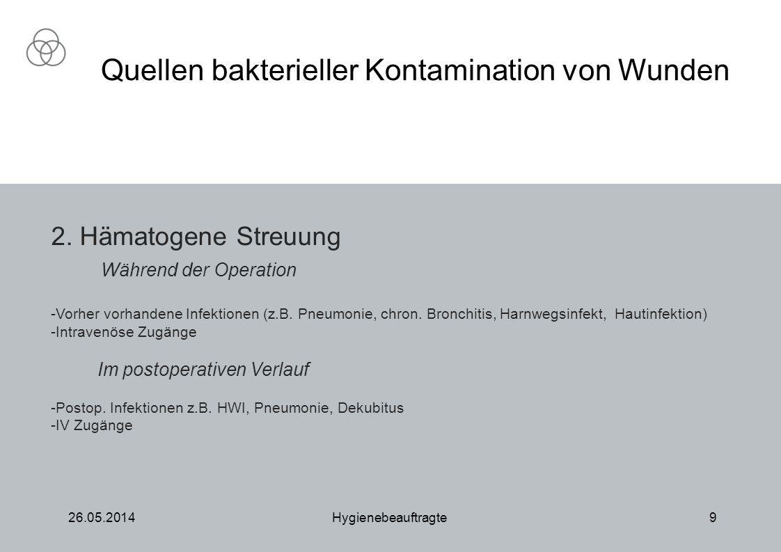 26.05.2014Hygienebeauftragte9 Quellen bakterieller Kontamination von Wunden 2. Hämatogene Streuung Während der Operation -Vorher vorhandene Infektione