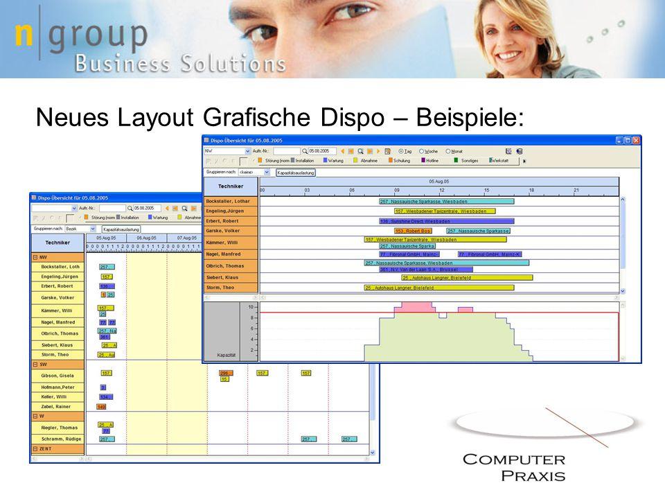 Neues Layout Grafische Dispo – Beispiele: