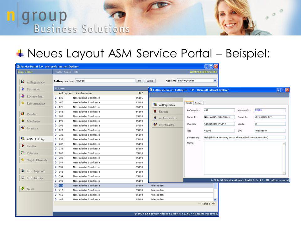 Neues Layout ASM Service Portal – Beispiel: