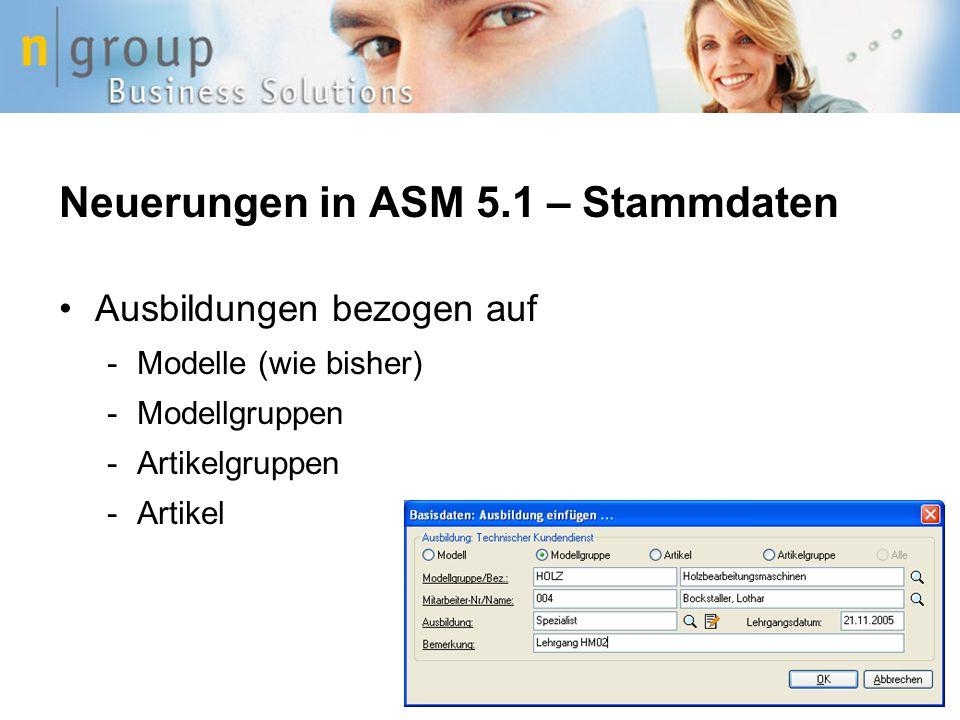 Neuerungen in ASM 5.1 – Stammdaten Ausbildungen bezogen auf -Modelle (wie bisher) -Modellgruppen -Artikelgruppen -Artikel