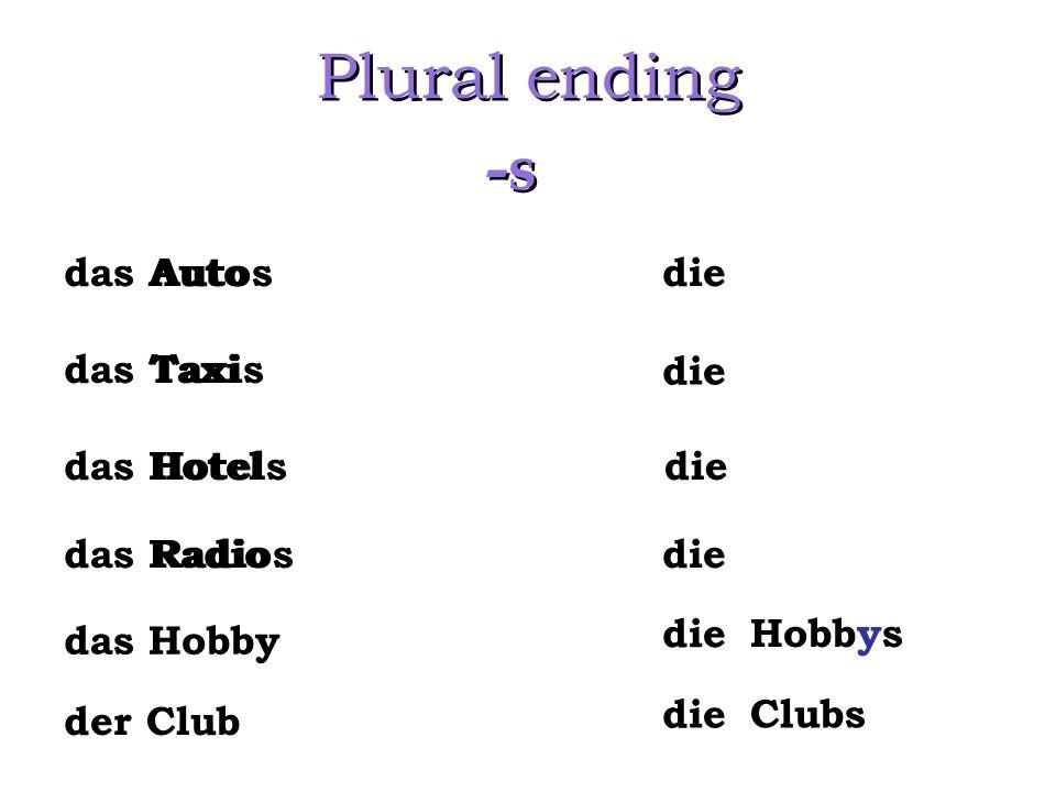 Plural ending -s das Auto das Taxi das Hotel das Radio die das Hobby Hobbys die Autos Taxis Hotels Radios der Club Clubs die