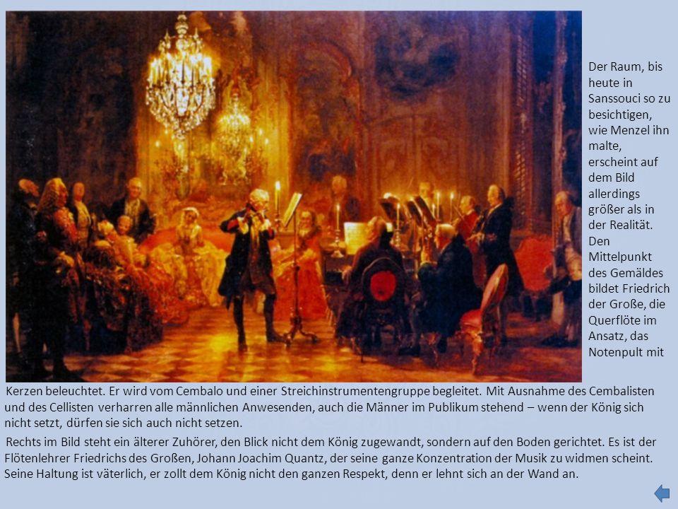 Kerzen beleuchtet. Er wird vom Cembalo und einer Streichinstrumentengruppe begleitet. Mit Ausnahme des Cembalisten und des Cellisten verharren alle mä
