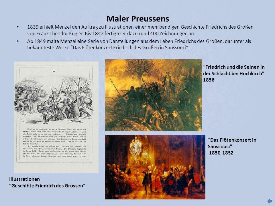 1839 erhielt Menzel den Auftrag zu Illustrationen einer mehrbändigen Geschichte Friedrichs des Großen von Franz Theodor Kugler. Bis 1842 fertigte er d