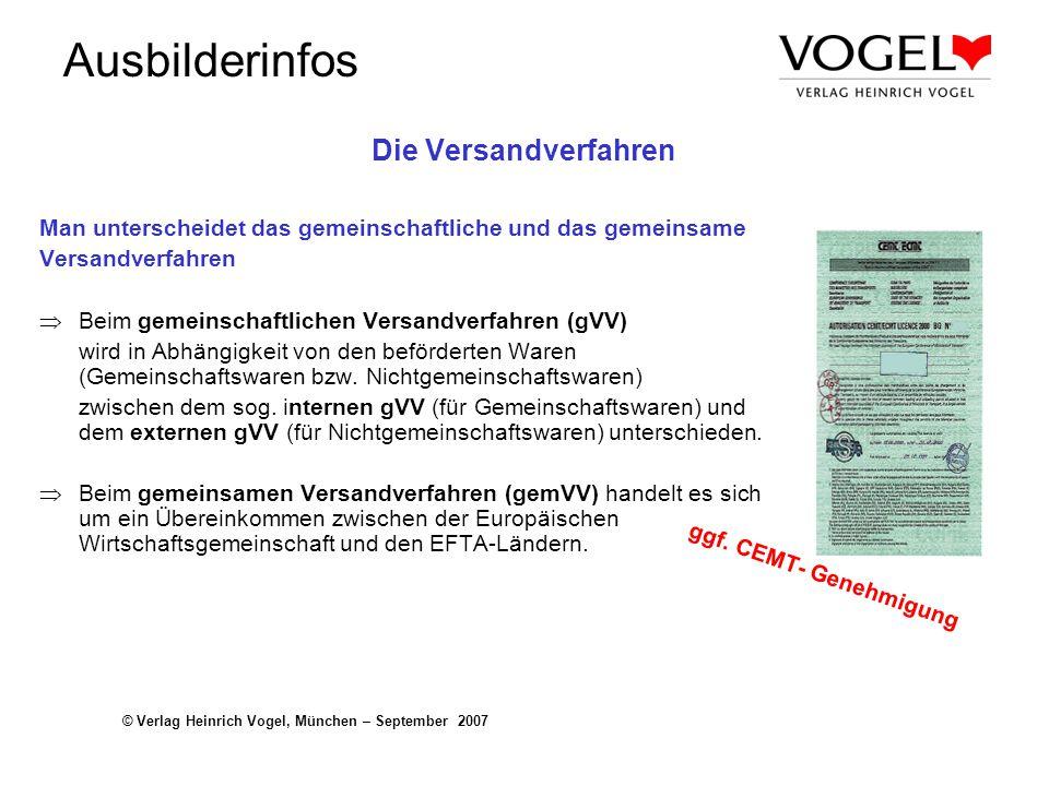 Ausbilderinfos © Verlag Heinrich Vogel, München – September 2007 Die Versandverfahren Man unterscheidet das gemeinschaftliche und das gemeinsame Versa