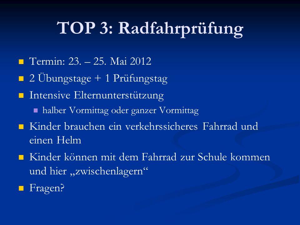 TOP 3: Radfahrprüfung Termin: 23. – 25. Mai 2012 2 Übungstage + 1 Prüfungstag Intensive Elternunterstützung halber Vormittag oder ganzer Vormittag Kin