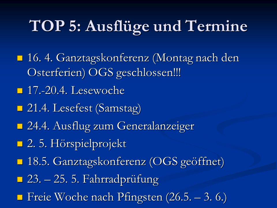 TOP 5: Ausflüge und Termine 16. 4. Ganztagskonferenz (Montag nach den Osterferien) OGS geschlossen!!! 16. 4. Ganztagskonferenz (Montag nach den Osterf