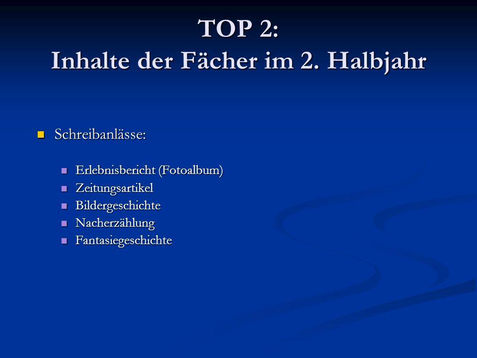 TOP 2: Inhalte der Fächer im 2. Halbjahr Schreibanlässe: Schreibanlässe: Erlebnisbericht (Fotoalbum) Erlebnisbericht (Fotoalbum) Zeitungsartikel Zeitu