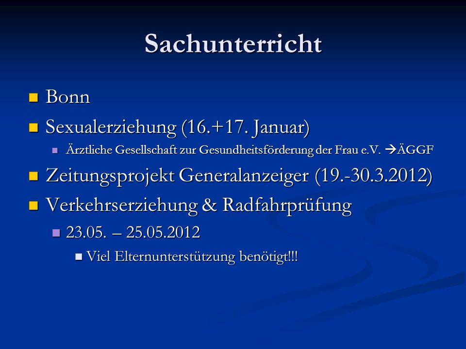 Sachunterricht Bonn Bonn Sexualerziehung (16.+17.Januar) Sexualerziehung (16.+17.