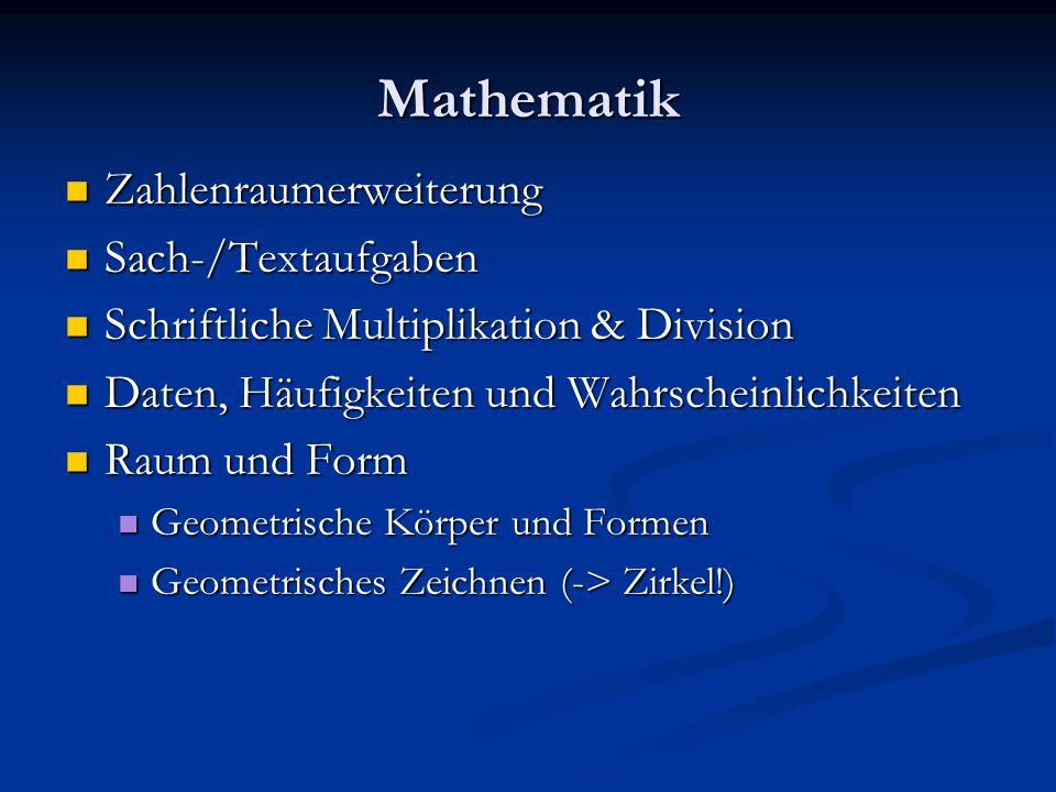 Mathematik Zahlenraumerweiterung Zahlenraumerweiterung Sach-/Textaufgaben Sach-/Textaufgaben Schriftliche Multiplikation & Division Schriftliche Multiplikation & Division Daten, Häufigkeiten und Wahrscheinlichkeiten Daten, Häufigkeiten und Wahrscheinlichkeiten Raum und Form Raum und Form Geometrische Körper und Formen Geometrische Körper und Formen Geometrisches Zeichnen (-> Zirkel!) Geometrisches Zeichnen (-> Zirkel!)