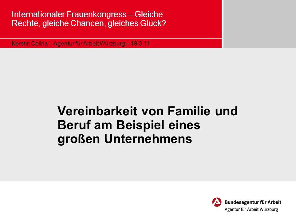 Internationaler Frauenkongress – Gleiche Rechte, gleiche Chancen, gleiches Glück? Kerstin Celina – Agentur für Arbeit Würzburg – 19.3.11 Vereinbarkeit