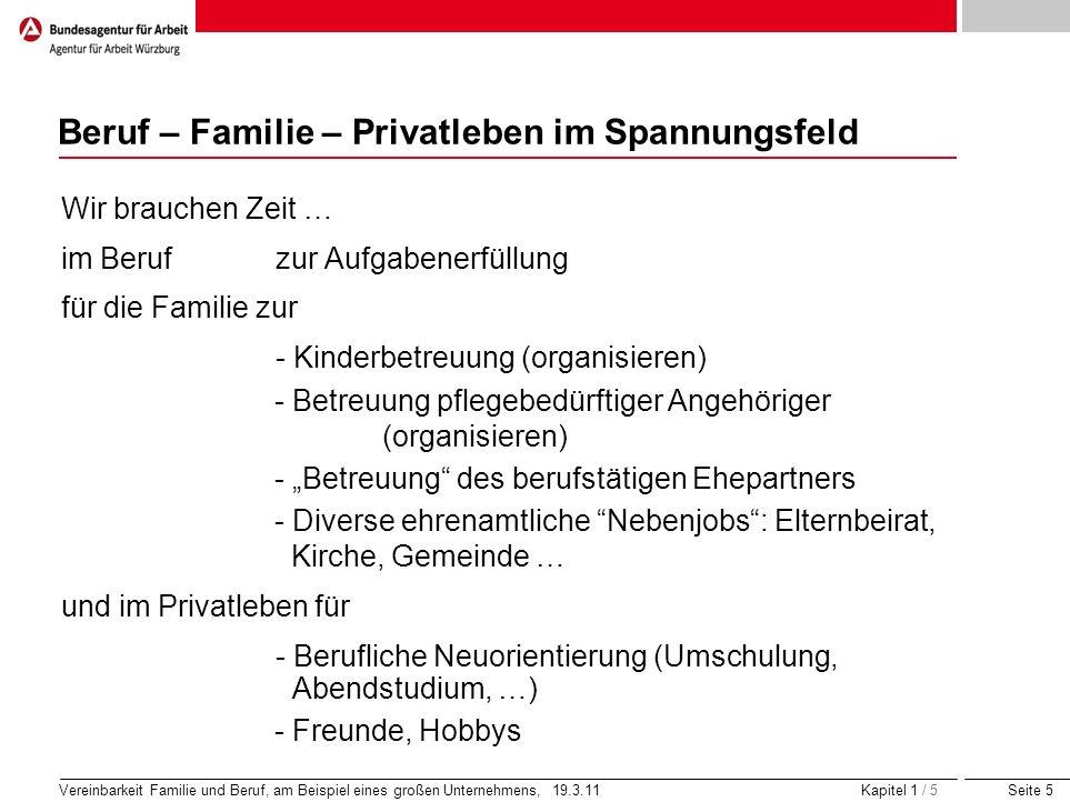 Seite 5 Vereinbarkeit Familie und Beruf, am Beispiel eines großen Unternehmens, 19.3.11 Kapitel 1 / 5 Beruf – Familie – Privatleben im Spannungsfeld W