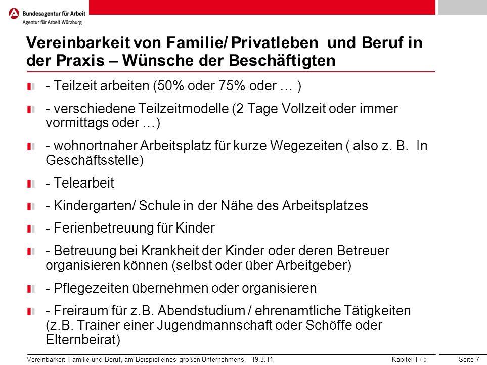 Seite 7 Vereinbarkeit Familie und Beruf, am Beispiel eines großen Unternehmens, 19.3.11 Kapitel 1 / 5 Vereinbarkeit von Familie/ Privatleben und Beruf