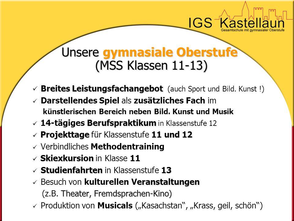 Unsere gymnasiale Oberstufe (MSS Klassen 11-13) Breites Leistungsfachangebot Breites Leistungsfachangebot (auch Sport und Bild. Kunst !) Darstellendes