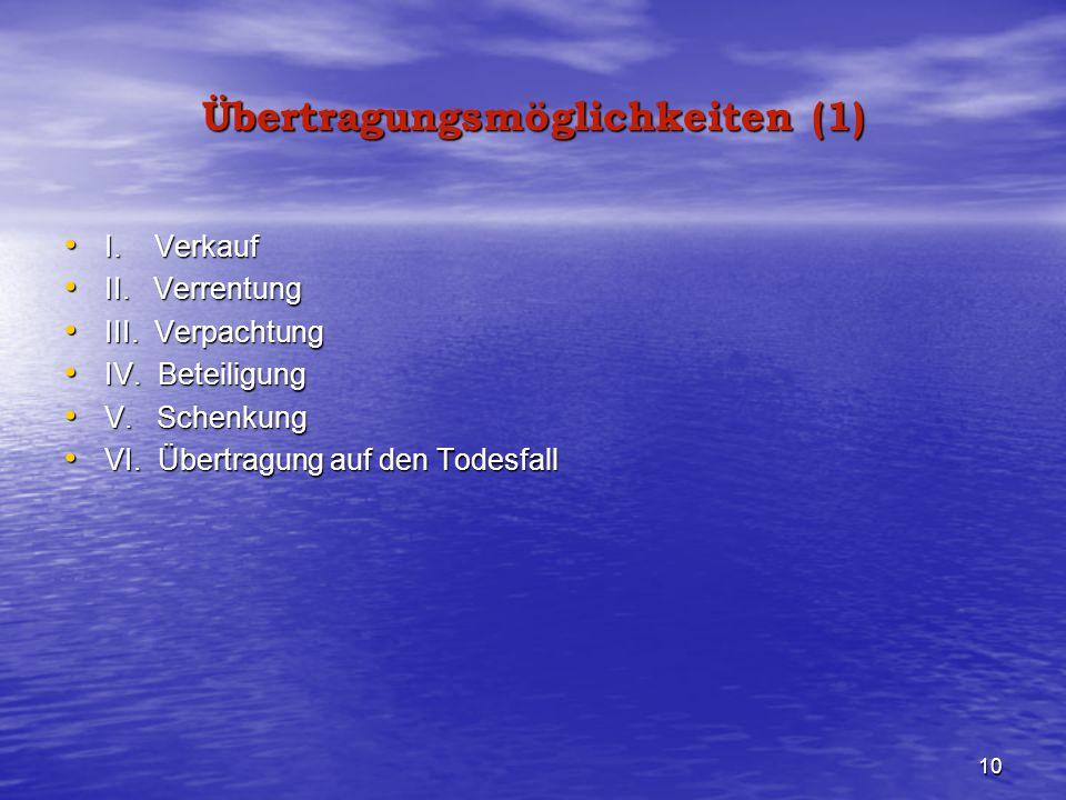 10 Übertragungsmöglichkeiten (1) I. Verkauf I. Verkauf II. Verrentung II. Verrentung III. Verpachtung III. Verpachtung IV. Beteiligung IV. Beteiligung