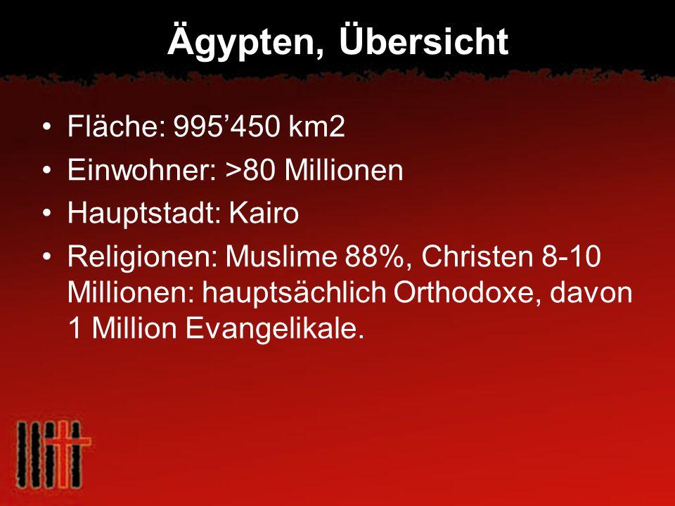 Ägypten, Übersicht Fläche: 995450 km2 Einwohner: >80 Millionen Hauptstadt: Kairo Religionen: Muslime 88%, Christen 8-10 Millionen: hauptsächlich Ortho